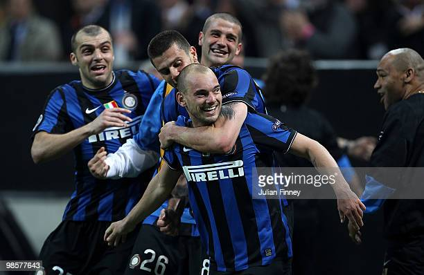 Wesley Sneijder of Inter celebrates his teams third goal during the UEFA Champions League Semi Final 1st Leg match between Inter Milan and Barcelona...
