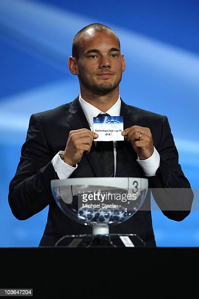 Wesley Sneijder of Inter Milan and Holland draws the name of Tottenham Hotspur during the UEFA Champions League Group Stage draw at the Grimaldi...