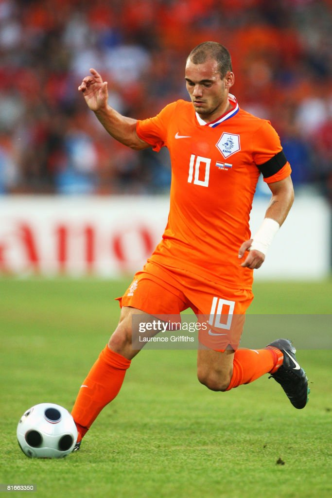 Wesley Sneijder of Netherlands in action during the UEFA EURO 2008 Quarter Final match between Netherlands and Russia at St. Jakob-Park on June 21, 2008 in Basel, Switzerland.