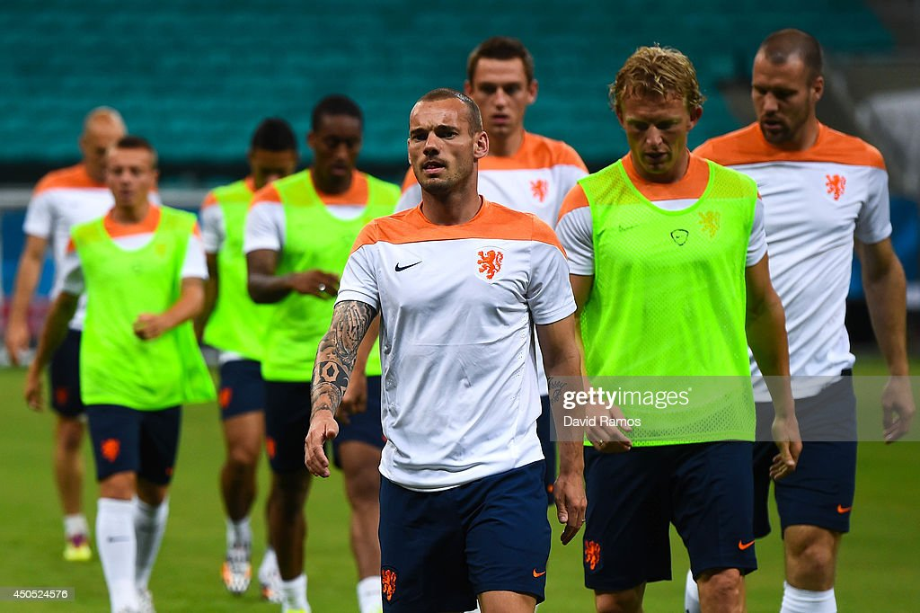 Wesley Sneijder of Netherlands warms up during the Netherlands training session before the 2014 FIFA Word Cup Group B match between Spain and Netherlands at the Arena Fonte Nova on June 12, 2014 in Salvador, Brazil.