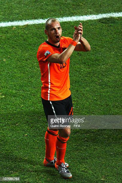 Wesley Sneijder of the Netherlands celebrates after the 2010 FIFA World Cup South Africa Quarter Final match between Netherlands and Brazil at Nelson...