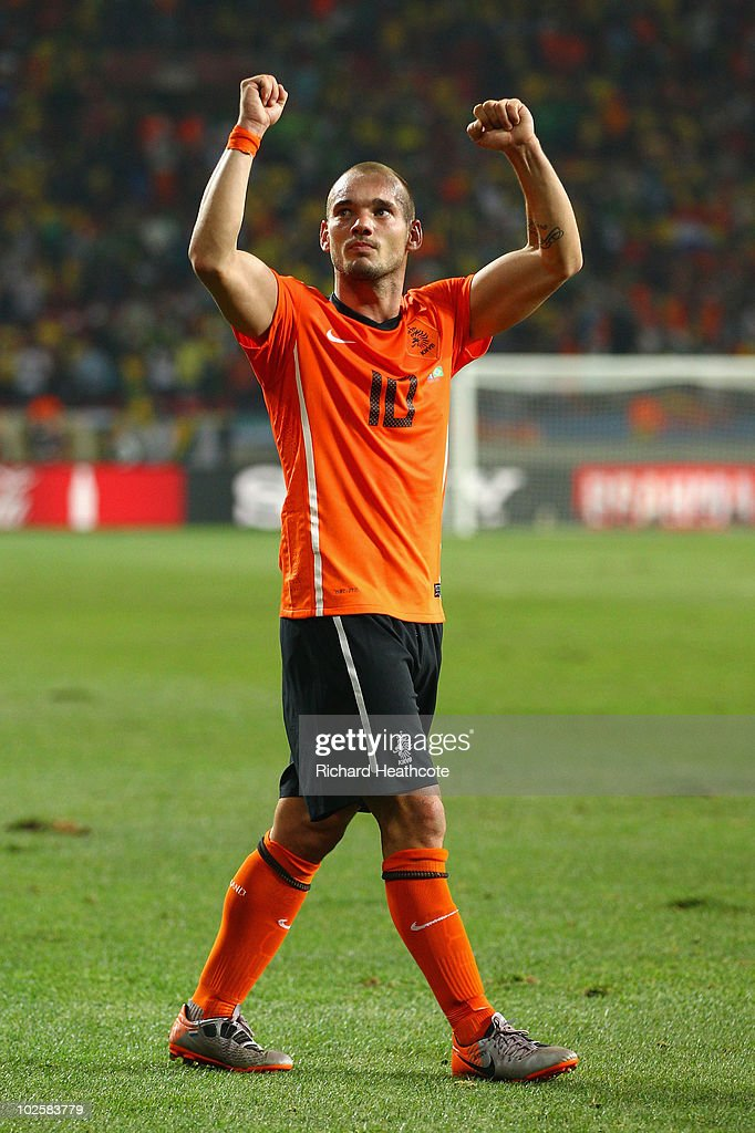 Wesley Sneijder of the Netherlands celebrates after victory and progress to the semi-finals during the 2010 FIFA World Cup South Africa Quarter Final match between Netherlands and Brazil at Nelson Mandela Bay Stadium on July 2, 2010 in Nelson Mandela Bay/Port Elizabeth, South Africa.