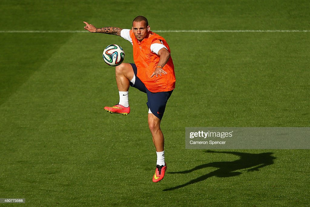 Wesley Sneijder of the Netherlands controls the ball during a Netherlands training session and press conference at Estadio Beira-Rio on June 17, 2014 in Porto Alegre, Brazil.
