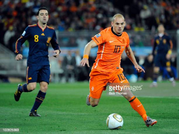 Wesley Sneijder of the Netherlands during the 2010 FIFA World Cup Final between the Netherlands and Spain on July 11 2010 in Johannesburg South...