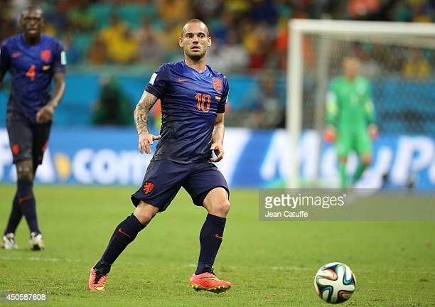 Wesley Sneijder of the Netherlands in action during the 2014 FIFA World Cup Brazil Group B match between Spain and Netherlands at Arena Fonte Nova on...