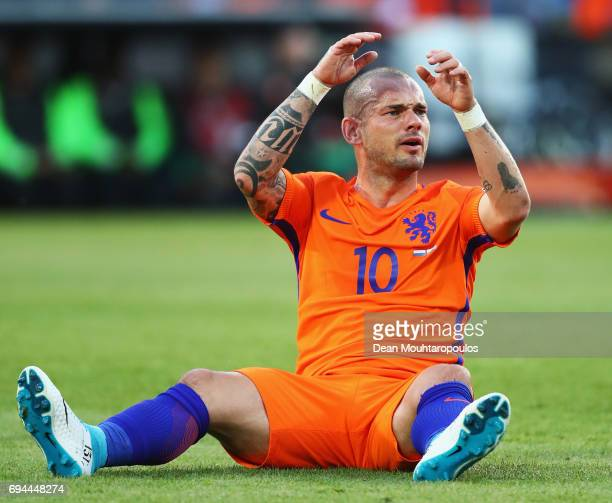 Wesley Sneijder of the Netherlands in action during the FIFA 2018 World Cup Qualifier between the Netherlands and Luxembourg held at De Kuip or...