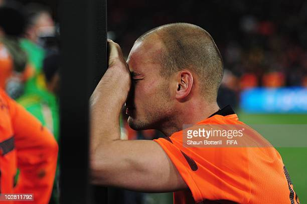 Wesley Sneijder of the Netherlands is dejected after the 2010 FIFA World Cup South Africa Final match between Netherlands and Spain at Soccer City...