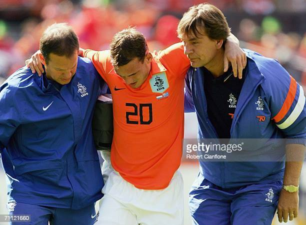 Wesley Sneijder of the Netherlands leaves the ground with an injury during the international friendly match between Netherlands and Australia at De...