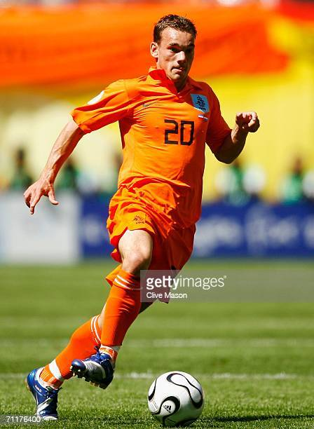 Wesley Sneijder of the Netherlands moves upfield with the ball during the FIFA World Cup Germany 2006 Group C match between Serbia and Montenegro and...