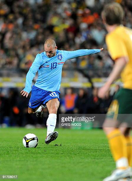 Wesley Sneijder of the Netherlands prepares to kick the ball during their football match against the Australian Socceroos in Sydney on October 10,...