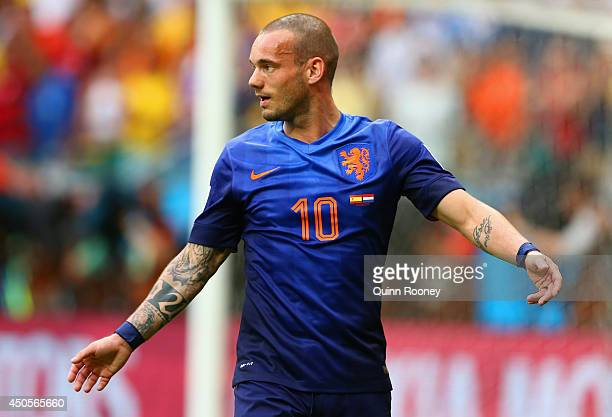 Wesley Sneijder of the Netherlands reacts after a missed chance in the first half during the 2014 FIFA World Cup Brazil Group B match between Spain...