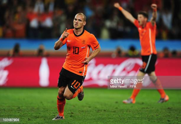 Wesley Sneijder of the Netherlands scores his side's second goal during the 2010 FIFA World Cup South Africa Round of Sixteen match between...
