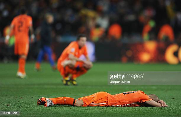 Wesley Sneijder of the Netherlands shows his dejection after suffering defeat following the 2010 FIFA World Cup South Africa Final match between...