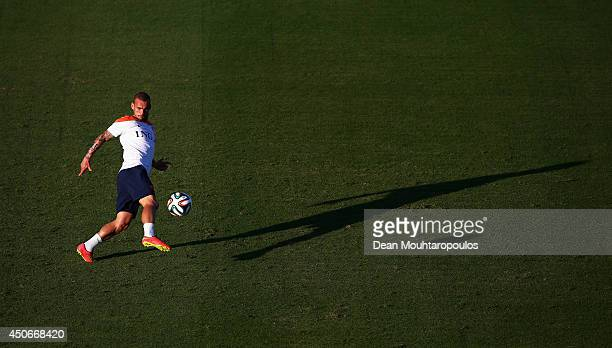 Wesley Sneijder shoots on goal during the Netherlands training session at the 2014 FIFA World Cup Brazil held at the Estadio Jose Bastos Padilha...