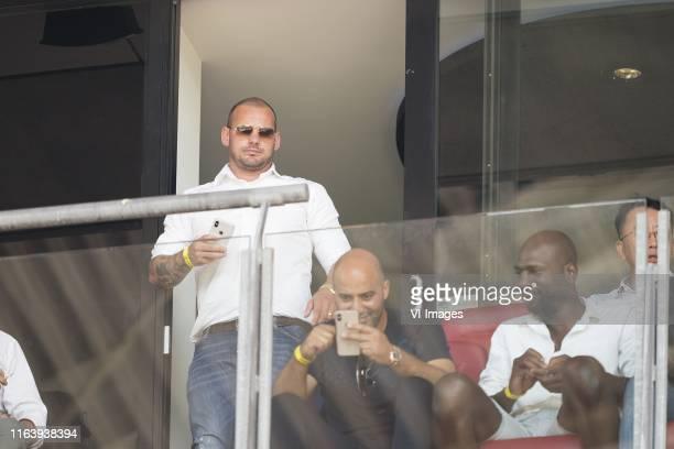 Wesley Sneijder skybox during the Dutch Eredivisie match between FC Utrecht and VVV Venlo at the Galgenwaard Stadium on August 25, 2019 in Utrecht,...