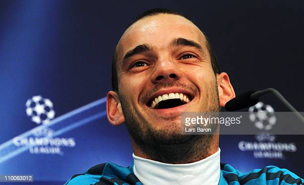 Wesley Sneijder smiles during a Inter Milan press conference ahead of the UEFA Champions League Round of 16 second leg match against Bayern Muenchen...
