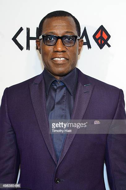 Wesley Snipes attends the world premiere of ChiRaq at The Chicago Theatre on November 22 2015 in Chicago Illinois