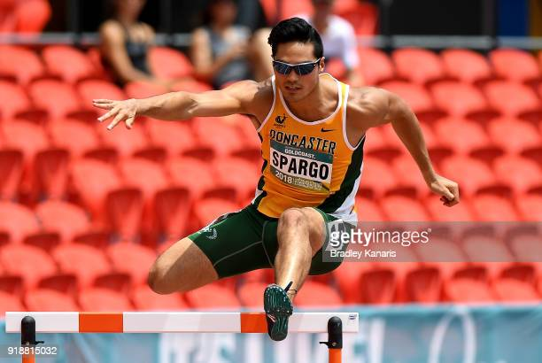 Wesley Spargo competes in the heats of the Men's 400m hurdle event during the Australian Athletics Championships Nomination Trials at Carrara Stadium...