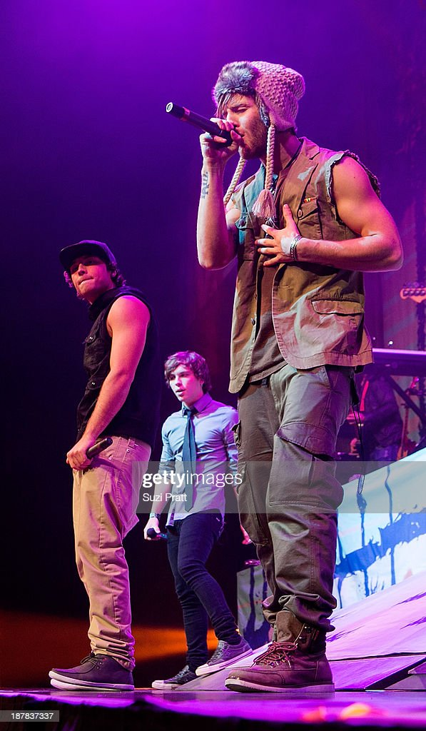 Wesley Stromberg and Drew Chadwick of Emblem3 performs live at Key Arena on November 12, 2013 in Seattle, Washington.