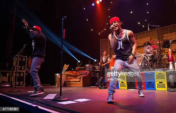 Wesley Stromberg and Drew Chadwick of Emblem3 performs live onstage at Egyptian Room at Old National Centre on February 15 2014 in Indianapolis...