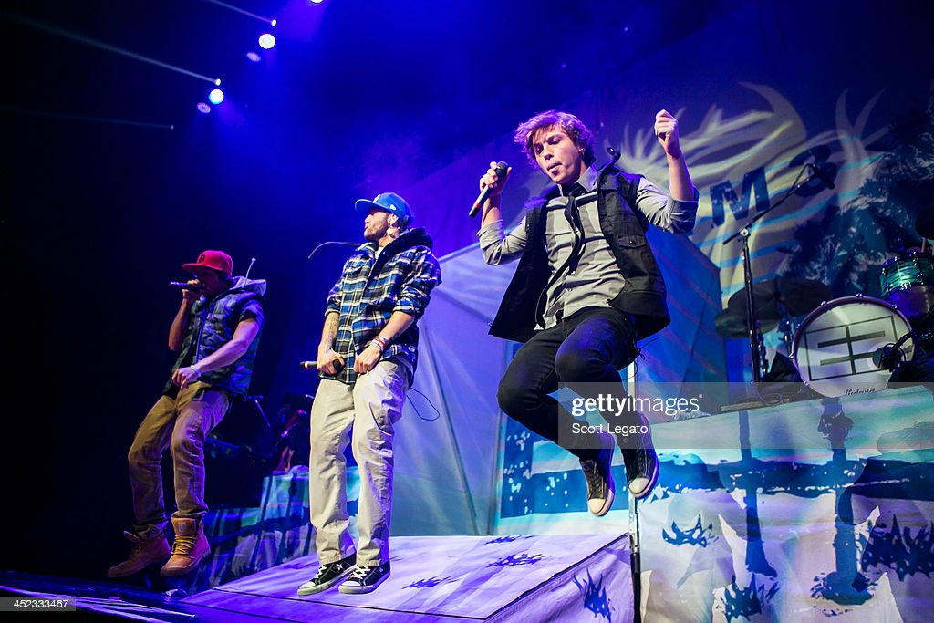 Wesley Stromberg, Drew Chadwick and Keaton Stromberg of Emblem3 perform in concert during her Stars Dance Tour at The Palace of Auburn Hills on November 26, 2013 in Auburn Hills, Michigan.