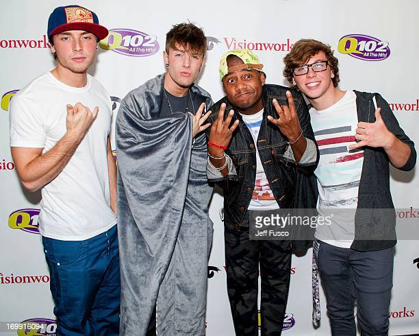 Wesley Stromberg Drew Chadwick radio personality Maxwell and Keaton Stromberg of Emblem3 pose at the Q102 iHeartRadio Performance Theater on June 4...