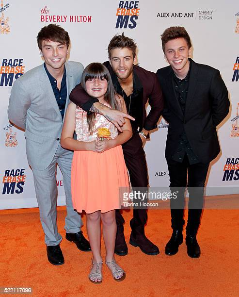 Wesley Stromberg Keaton Stromberg and Drew Chadwick of Emblem3 and a contestant winner attend the 23rd annual Race to Erase MS Gala at The Beverly...