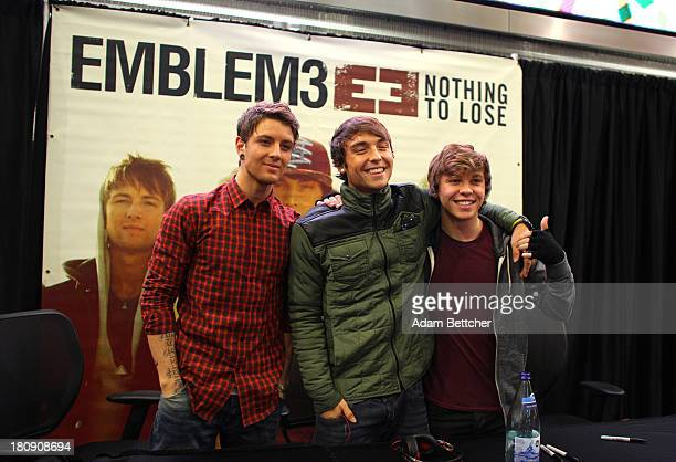 Wesley Stromberg Keaton Stromberg and Drew Chadwick of the band Emblem3 greets fans on September 20 2013 at Mall of America in Bloomington Minnesota