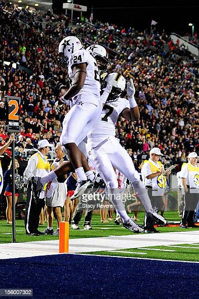 Wesley Tate of the Vanderbilt Commodores celebrates a touchdown with teammates during a game against the Ole Miss Rebels at VaughtHemingway Stadium...