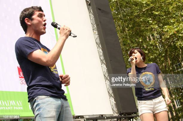 Wesley Taylor and Krysta Rodriguez from the cast of The Addams Family performs at 1067 Lite FM Presents Broadway in Bryant Park on July 29 2010 in...