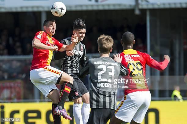 Wesley Verhoek of Go Ahead Eagles Felipe Gutierrez of FC Twente Joachim Andersen of FC Twente Glynor Plet of Go Ahead Eagles during the Dutch...