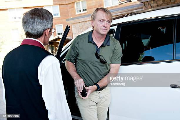 Wesley 'Wes' Edens cochairman of Fortress Investment Group LLC arrives at the Sun Valley Lodge ahead of the Allen Co Media and Technology Conference...