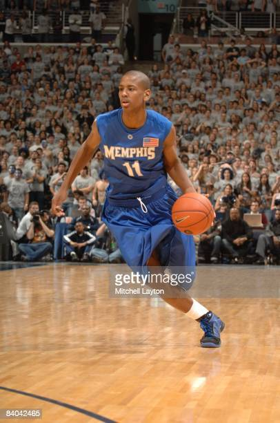 Wesley Witherspoon of the Memphis State Tigers dribbles the ball during a college basketball game against the Georgetown Hoyas on December 13, 2008...