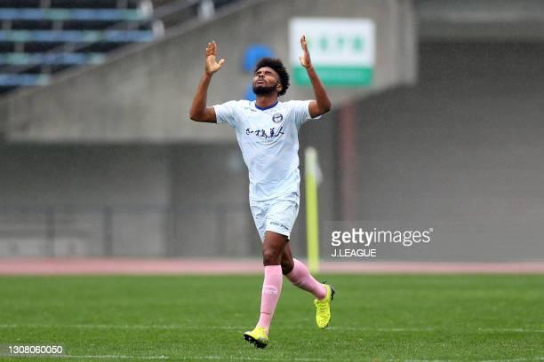 Weslley of Kagoshima United celebrates scoring his side's first goal during the J.League Meiji Yasuda J3 match between Roasso Kumamoto and Kagoshima...