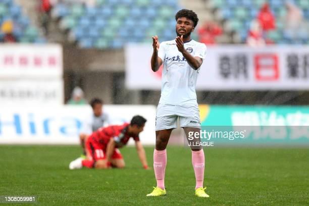 Weslley of Kagoshima United reacts after the 2-2 draw in the J.League Meiji Yasuda J3 match between Roasso Kumamoto and Kagoshima United at Egao...