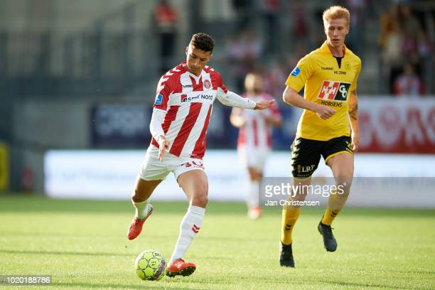 Wessam Abou Ali of AaB Aalborg controls the ball during the Danish Superliga match between AC Horsens and AaB Aalborg at Casa Arena Horsens on August...