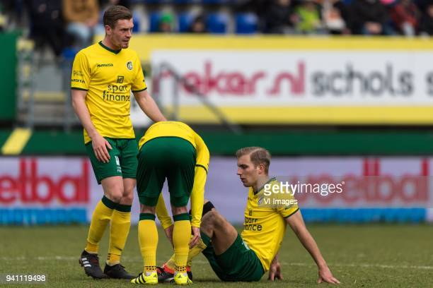 Wessel Dammers of Fortuna Sittard Marco Ospitalieri of Fortuna Sittard Finn Stokkers of Fortuna Sittard during the Jupiler League match between...