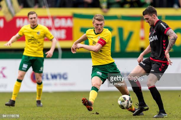 Wessel Dammers of Fortuna Sittard Perr Schuurs of Fortuna Sittard Arne Naudts of Helmond Sport during the Jupiler League match between Fortuna...
