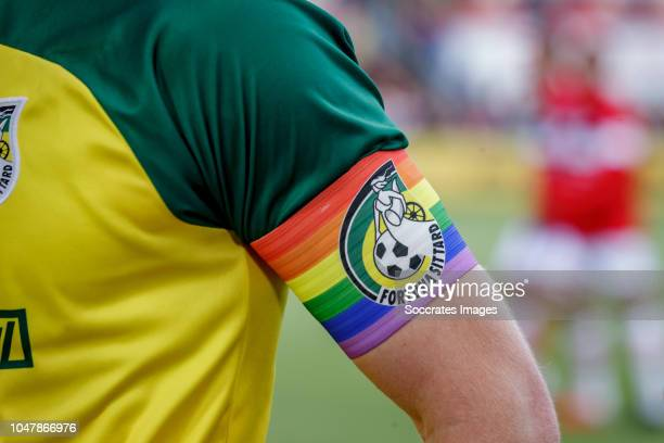 Wessel Dammers of Fortuna Sittard with the rainbow captain band during the Dutch Eredivisie match between FC Emmen v Fortuna Sittard at the De JENS...