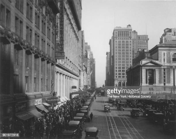 West 42nd Street between Fifth and Sixth Avenues looking East New York Public Library on right New York New York 1929