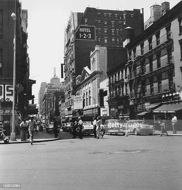 West 44th Street in Manhattan New York City circa 1959 The play 'A Raisin in the Sun' by Lorraine Hansberry is showing at the Belasco Theater next to...