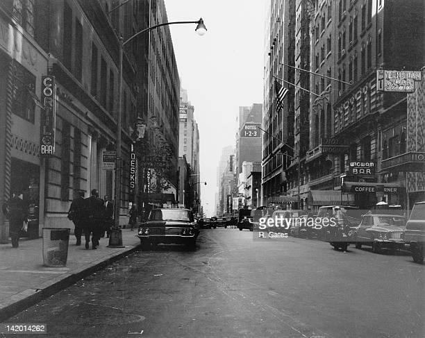 West 44th Street in Manhattan New York City circa 1961 The Hotel Algonquin is visible on the right as well as the Hotel 123