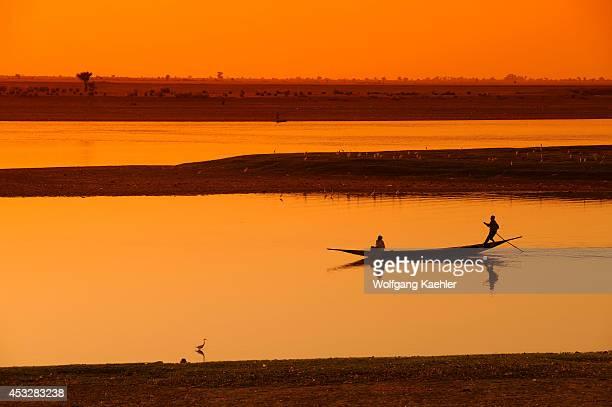 West Africa Mali Mopti Bani River Local People In Boat Sunset