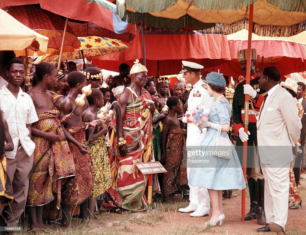 West Africa. 1961. Queen Elizabeth II and Prince Philip the Duke of Edinburgh are pictured meeting native people during their visit. : News Photo
