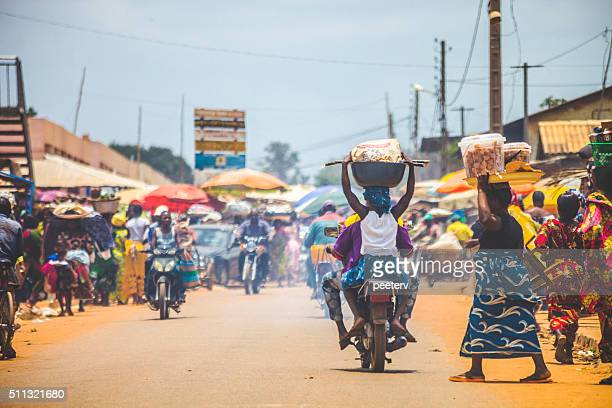 west african market scene. - developing countries stock photos and pictures