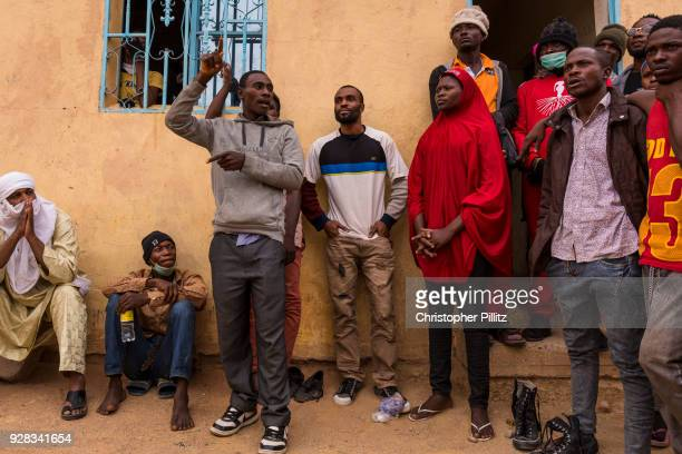 West african migrants  await their chance to continue journey north to reach Europe from Agadez.