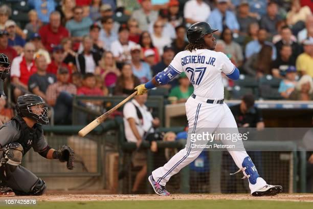 West AllStar Vladimir Guerrero Jr of the Toronto Blue Jays bats during the Arizona Fall League All Star Game at Surprise Stadium on November 3 2018...
