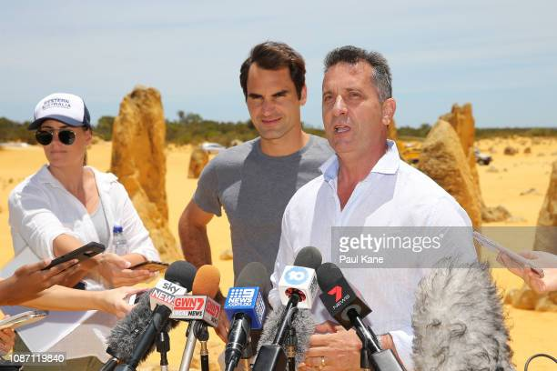 West Australian Minister for Tourism Paul Papalia addresses the media with Roger Federer at the Pinnacles Dessert ahead of the 2019 Hopman Cup on...