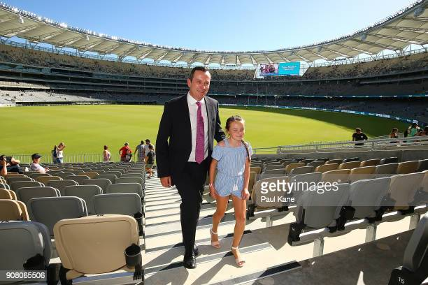 West Australian Premier Mark McGowan and his daughter walk up an aisle at Optus Stadium on January 21 2018 in Perth Australia The 60000 seat...