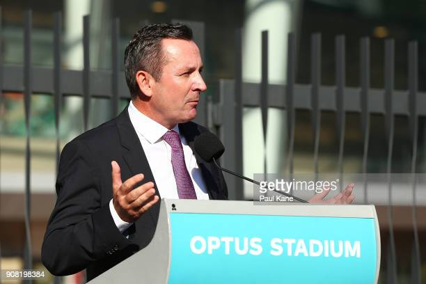 West Australian Premier Mark McGowan talks to invited guests and members of the public before the official opening at Optus Stadium on January 21...